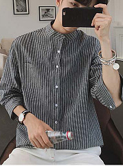Band-Collar-Vertical-Striped-Men-Shirts