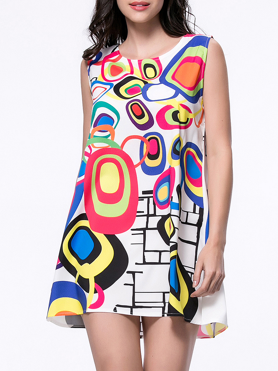 Multi-Color Color Block Printed Sleeveless Shift Dress