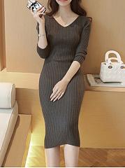 V-Neck-Plain-Knitted-Midi-Bodycon-Dress