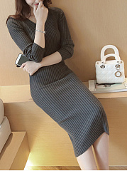 V-Neck Plain Knitted Midi Bodycon Dress