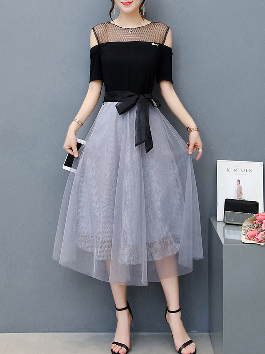 Open Shoulder Belt Color Block Hollow Out Skater Dress