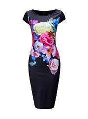 Round-Neck-Slit-Floral-Printed-Bodycon-Dress
