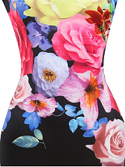 Round Neck  Slit  Floral Printed Bodycon Dress