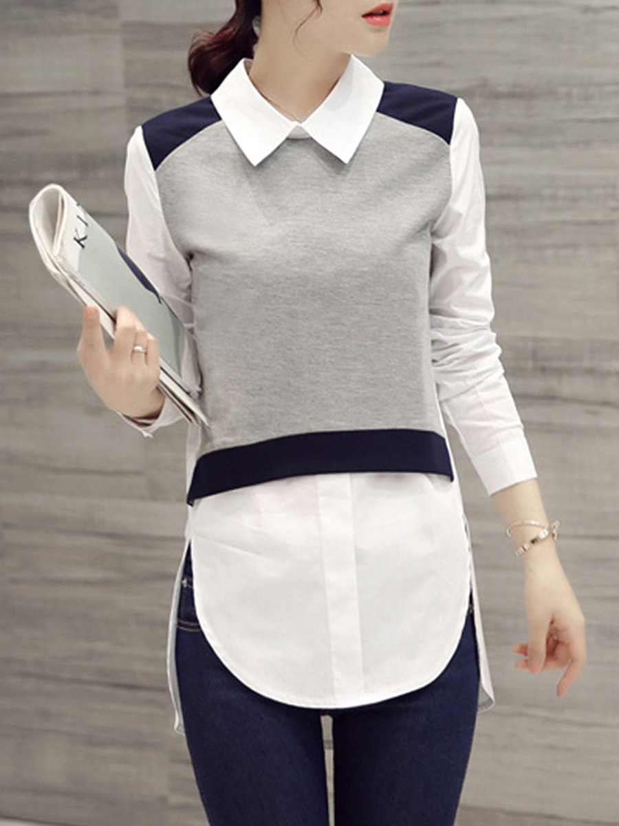 Doll Collar Color Block Vented Blouse