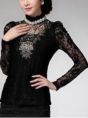 Band Collar  Beading See-Through Blouse