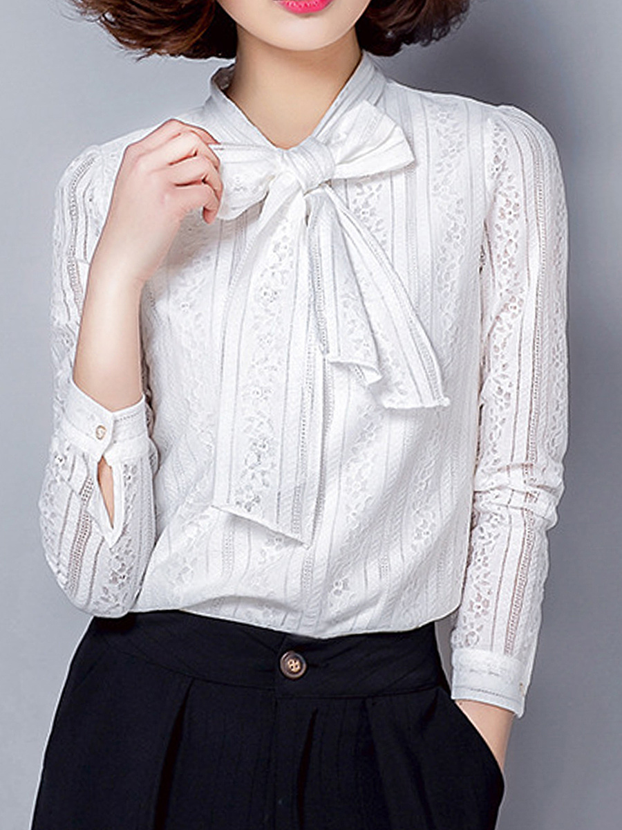 Tie Collar Bowknot Lace Hollow Out Plain Blouse