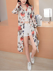 Turn Down Collar  Single Breasted  Floral Printed  Long Sleeve Cardigans