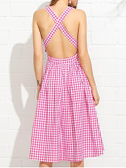 Square Neck  Backless  Overall  Plaid Striped Skater Dress