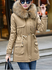 Hooded-Drawstring-Flap-Pocket-Fleece-Lined-Coat