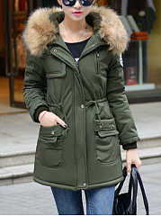 Hooded Drawstring Flap Pocket Fleece Lined Coat
