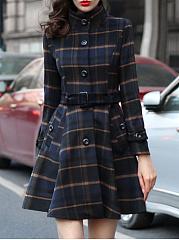 High-Neck-Plaid-Belt-Pocket-Woolen-Coat
