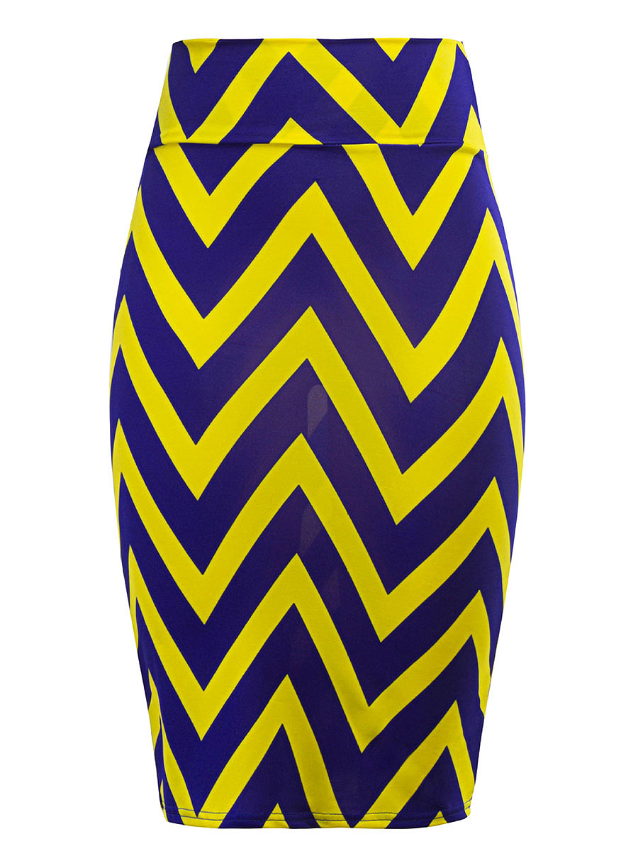 Zigzag Striped Pencil Midi Skirt