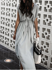 V-Neck  Drawstring  Plain Maxi Dress