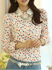 Autumn Spring  Polyamide  Women  Polka Dot  Long Sleeve Blouses