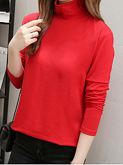 Autumn Spring Winter  Cotton  Women  High Neck  Plain Long Sleeve T-Shirts