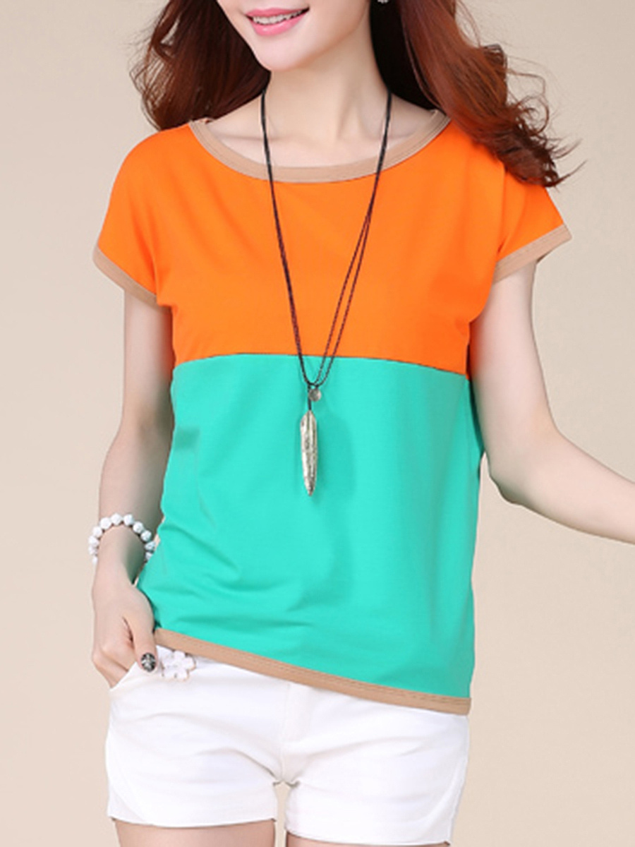 Casual Round Neck Color Block Blouse