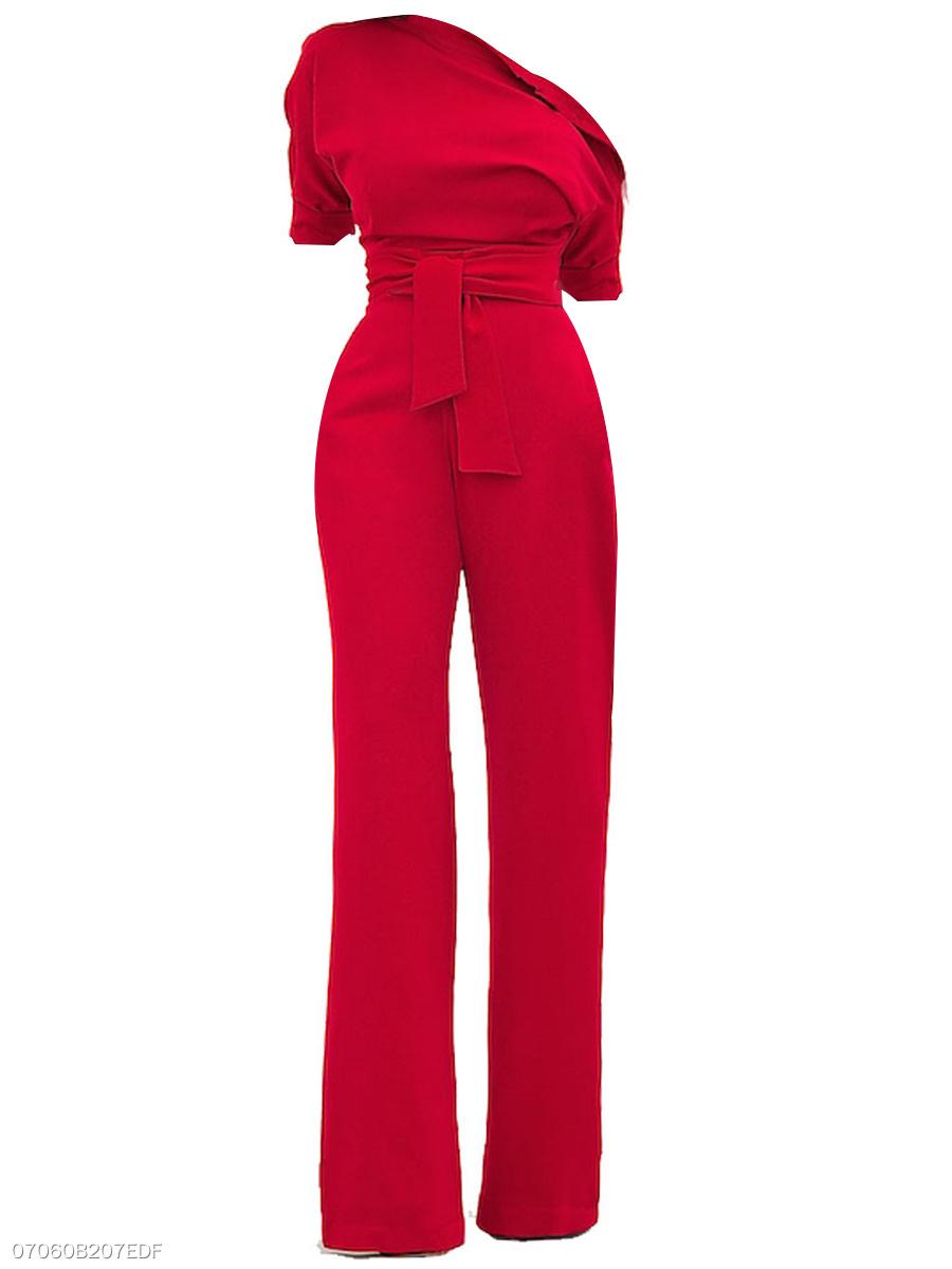efc0693ff19 One Shoulder Plain Long Wide-Leg Jumpsuit For Women - fashionMia.com
