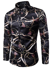 Modern Printed Men Turn Down Collar Shirts