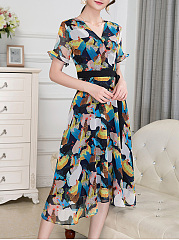 V-Neck Multi-Color Printed Bell Sleeve Maxi Dress