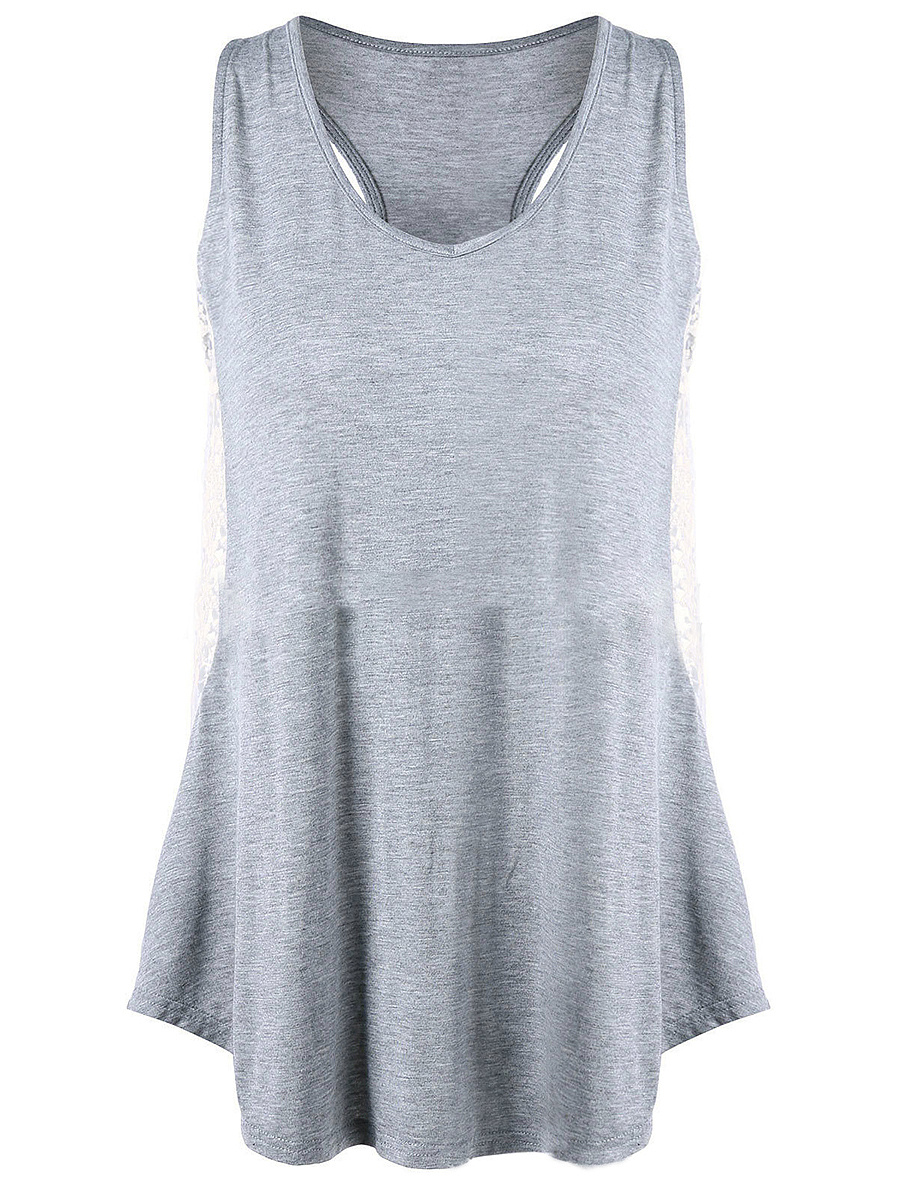 V-Neck Racerback Hollow Out Sleeveless T-Shirt