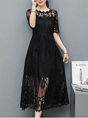 Round-Neck-See-Through-Plain-Lace-Maxi-Dress