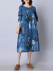 Round Neck Butterfly Printed Pocket Loose Maxi Dress