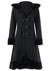 Hooded-Lace-Up-Plain-Woolen-Long-Coat