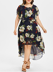 Round Neck  Asymmetric Hem  Floral Plus Size Midi  Maxi Dress