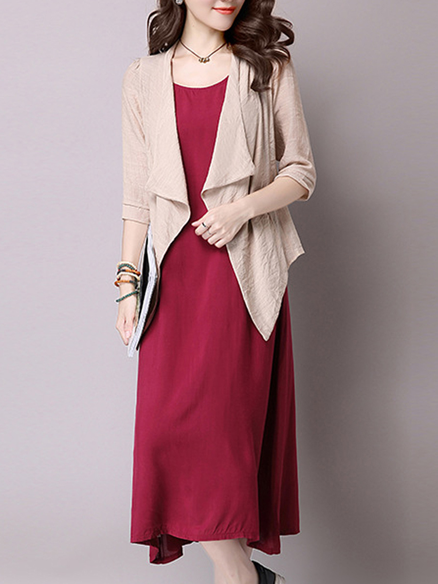Round Neck Color Block Two-Piece Maxi Dress