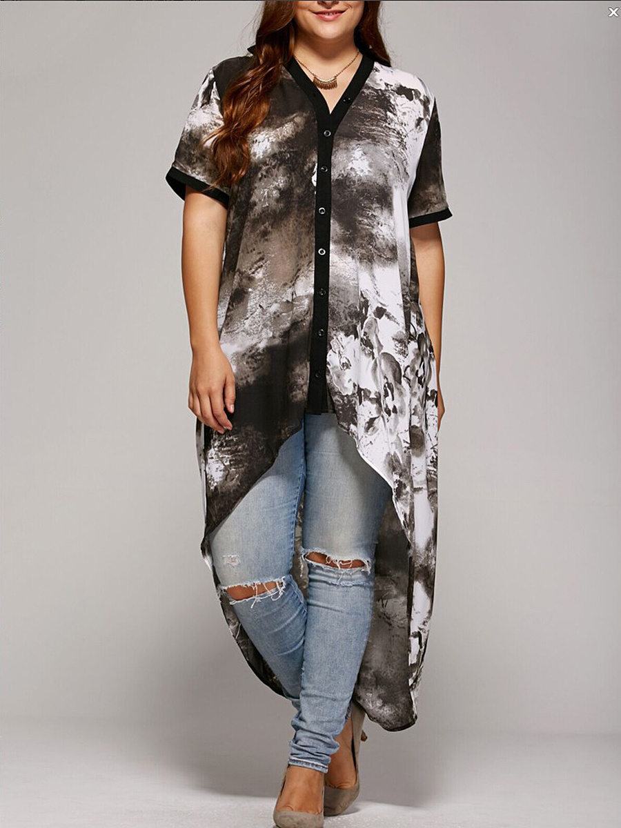 High-Low V-Neck Abstract Print Plus Size Blouse