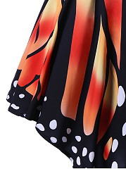 Butterfly Printed Asymmetric Hem Flared Midi Skirt