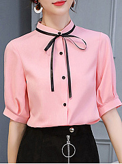 Autumn Spring  Polyester  Women  Collarless  Single Breasted  Contrast Piping  Plain  Short Sleeve Blouses