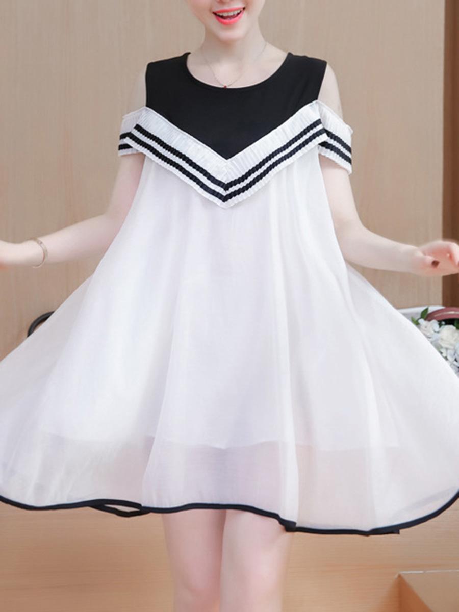 Round Neck Contrast Trim Color Block Shift Dress