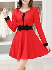 Round-Neck-Bowknot-Color-Block-Mini-Skater-Dress