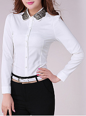 Turn Down Collar Decorative Lace Blouse