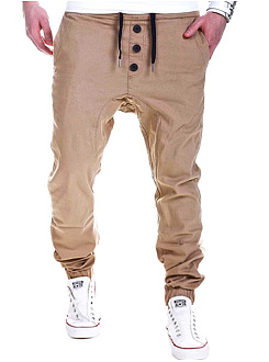 Drawstring  Plain  Straight  Mid-Rise Mens Casual Pants