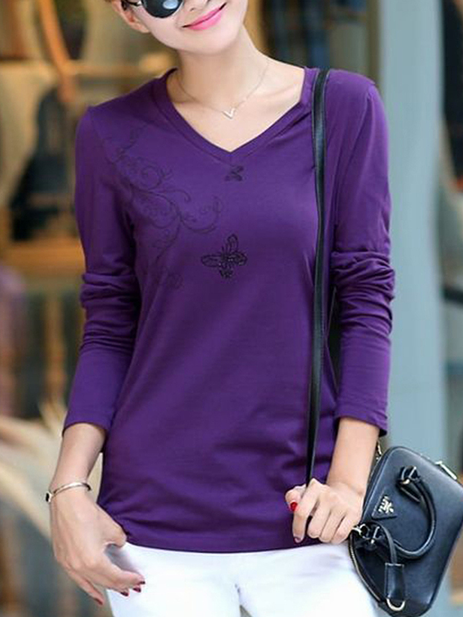 V-Neck  Printed Long Sleeve T-Shirt