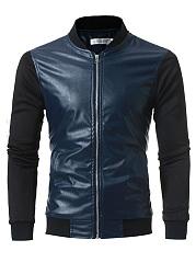 Band-Collar-Patchwork-Color-Block-Pocket-Men-Jacket