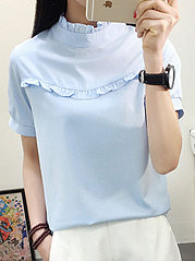 Spring Summer  Polyester  Women  High Neck  Flounce  Plain  Short Sleeve Blouses