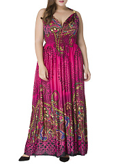 Deep V-Neck  Elastic Waist  Plus Size Maxi Dress In Tribal Printed