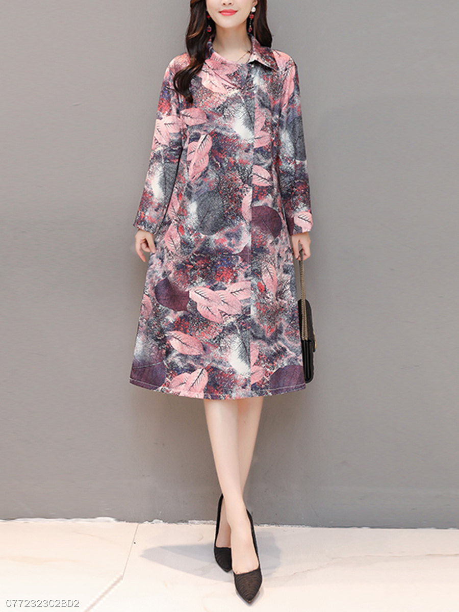 Asymmetric Neck  Printed Oversized Daily Maxi Dress