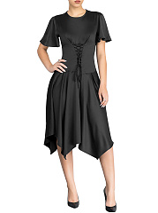 Round-Neck-Lace-Up-Belt-Loops-Plain-Polyester-Skater-Dress