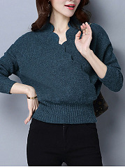 Deep V Neck  Crochet  Plain Pullover