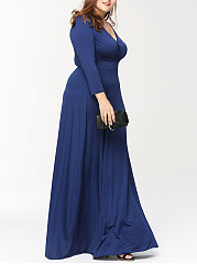 Deep V-Neck Plain Plus Size Maxi Dress