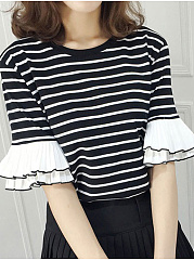 Polyester  Round Neck  Striped  Half Sleeve Short Sleeve T-Shirts