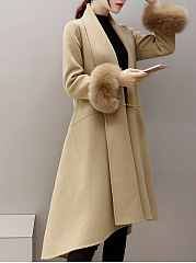 Lapel  Slit Pocket  Belt  Plain  Long Sleeve Coats