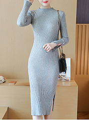 Band Collar Plain Side Slit Midi Knitted Dress