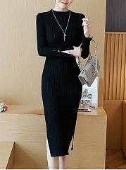 Band-Collar-Plain-Side-Slit-Midi-Knitted-Dress