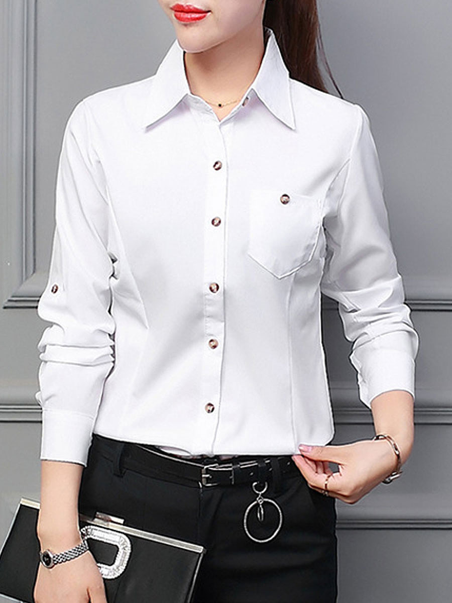 Autumn Spring  Polyester  Women  Turn Down Collar  Patch Pocket Single Breasted  Plain  Long Sleeve Blouses