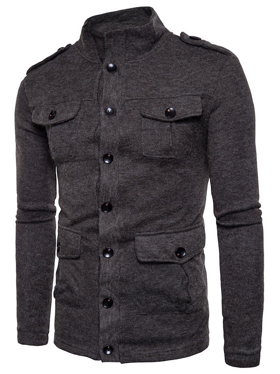 Men High Neck Flap Pocket Single Breasted Plain Coat